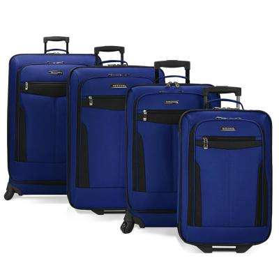 4-Piece Spinning and Rolling Navy Luggage Set