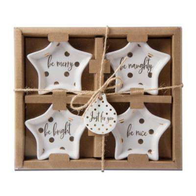 Merry & Bright Gold Star Tidbit Plate (Set of 4 )