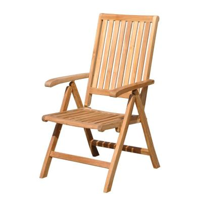 Heritage Collection Teak Outdoor Lounge Chair with Dove Cushions