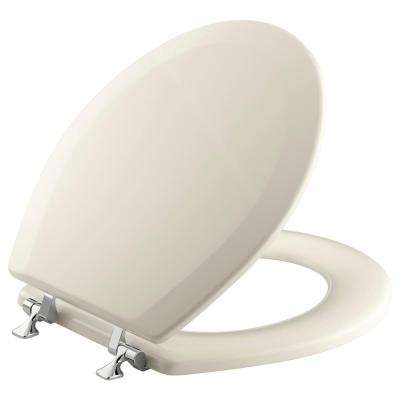 Triko Molded Round Closed Front Toilet Seat with Cover and Polished Chrome Hinge in Almond