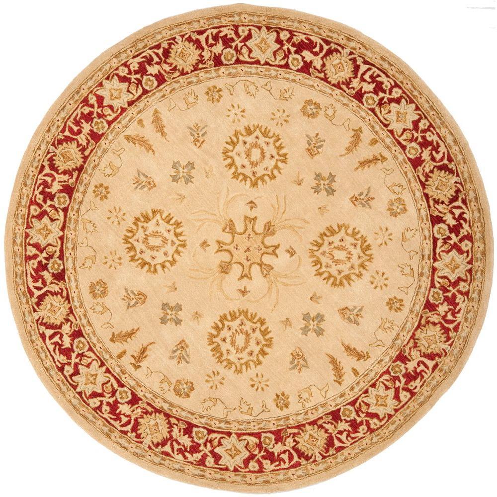 Safavieh Anatolia Ivory/Red 6 ft. x 6 ft. Round Area Rug