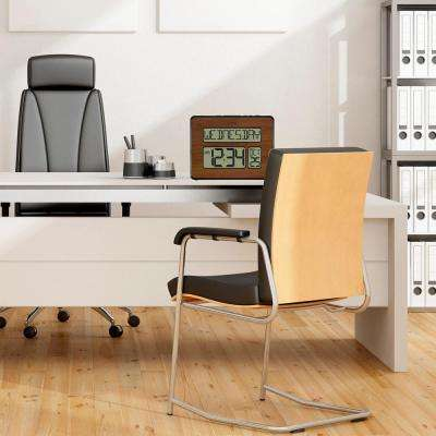 Atomic Full Calendar Digital Clock with Extra Large Digits in Walnut Finish