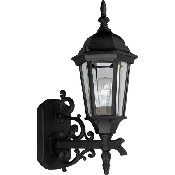 Welbourne Collection 1-Light 16.9 in. Outdoor Textured Black Wall Lantern Sconce