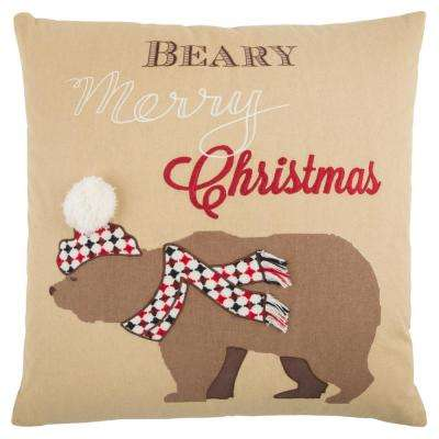 Holiday Snow Bear 20 in. x 20 in. Decorative Filled Pillow