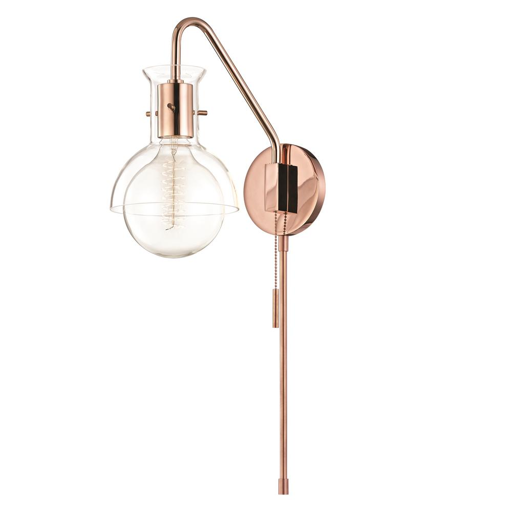 Mitzi By Hudson Valley Lighting Riley 1 Light Polished Copper Wall Sconce With Clear Gl