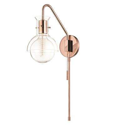 Riley 1-Light Polished Copper Wall Sconce with Clear Glass