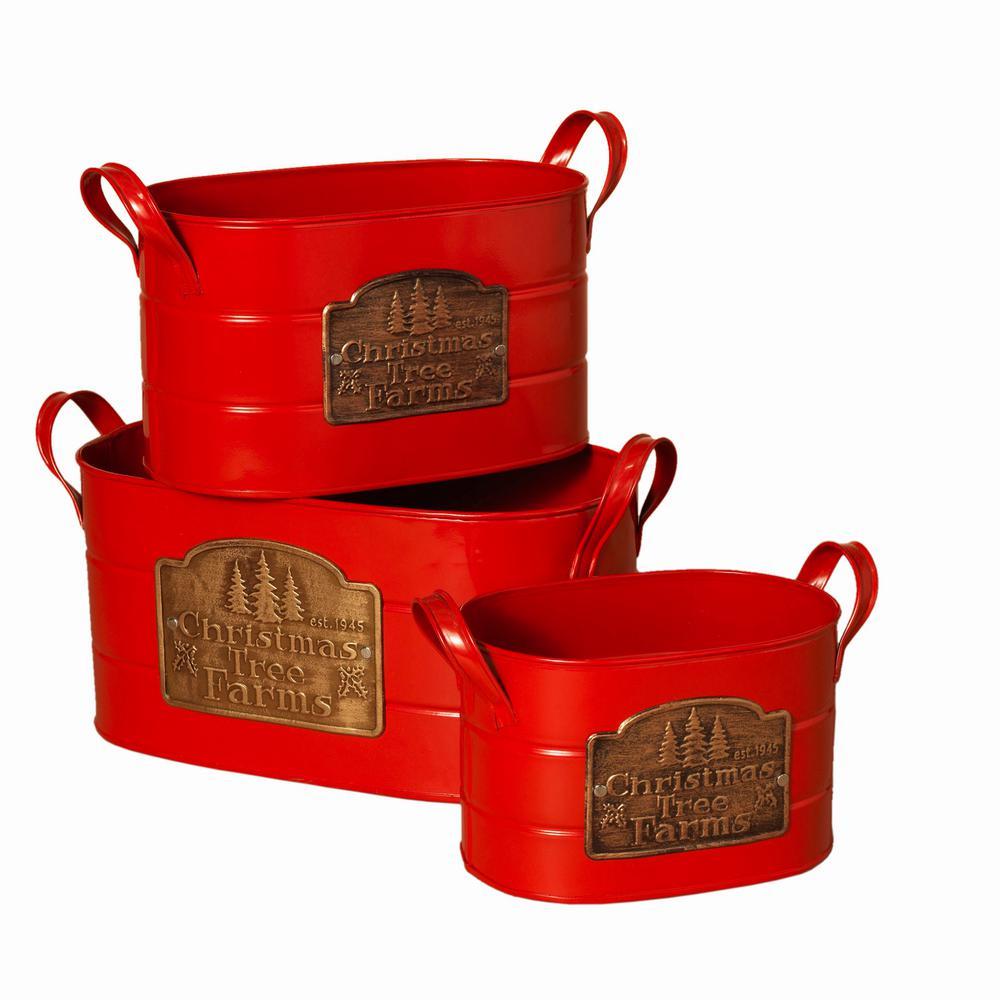 S/3 Red Metal Christmas Bucket