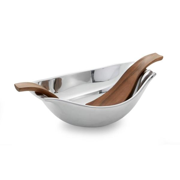 Nambe Drift 50 oz. Alloy Bowl with Wood Servers MT0738