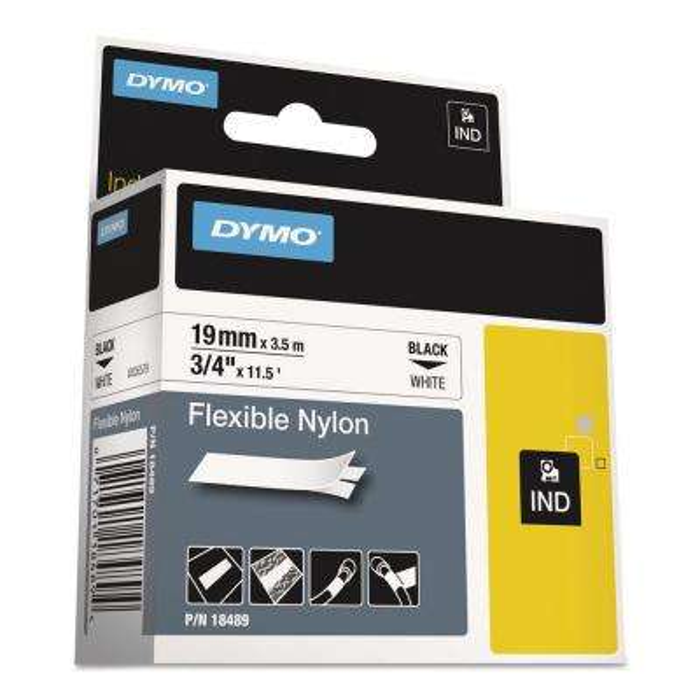 Rhino Flexible Nylon Industrial Label Tape, 3/4 in. x 11-1/2 ft. White/Black Print