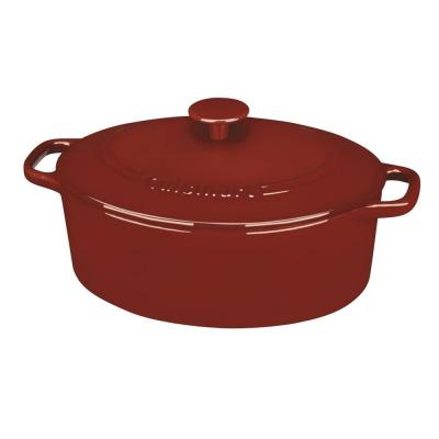 Chef's Classic 5.5 qt. Oval Cast Iron Dutch Oven in Cardinal Red with Lid