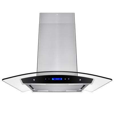 30 in. Convertible Kitchen Island Mount Range Hood in Stainless Steel with Tempered Glass and Touch Control