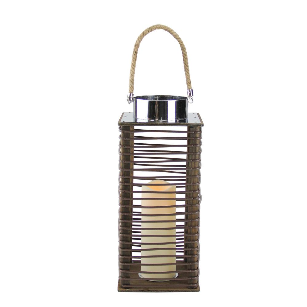 15.5 in. Contemporary Wooden Corded Lantern with LED Flameless Pillar Candle with Timer