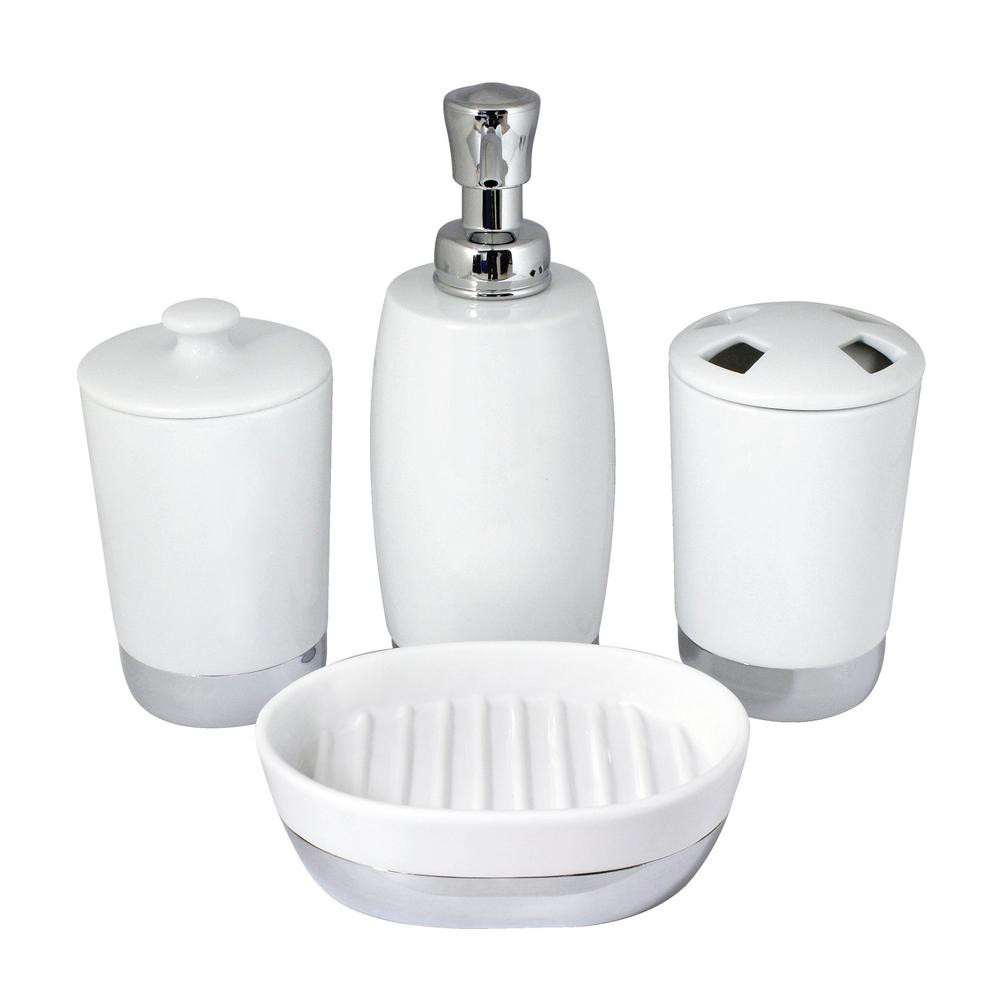 MODONA Arora 4 Piece Bathroom Accessories Set In White Porcelain And  Polished Chrome