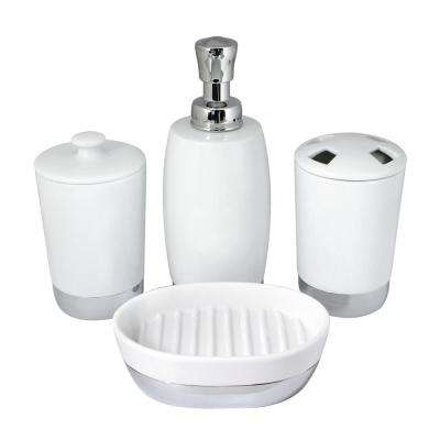 Arora 4 Piece Bathroom Accessories Set In White Porcelain And Polished  Chrome