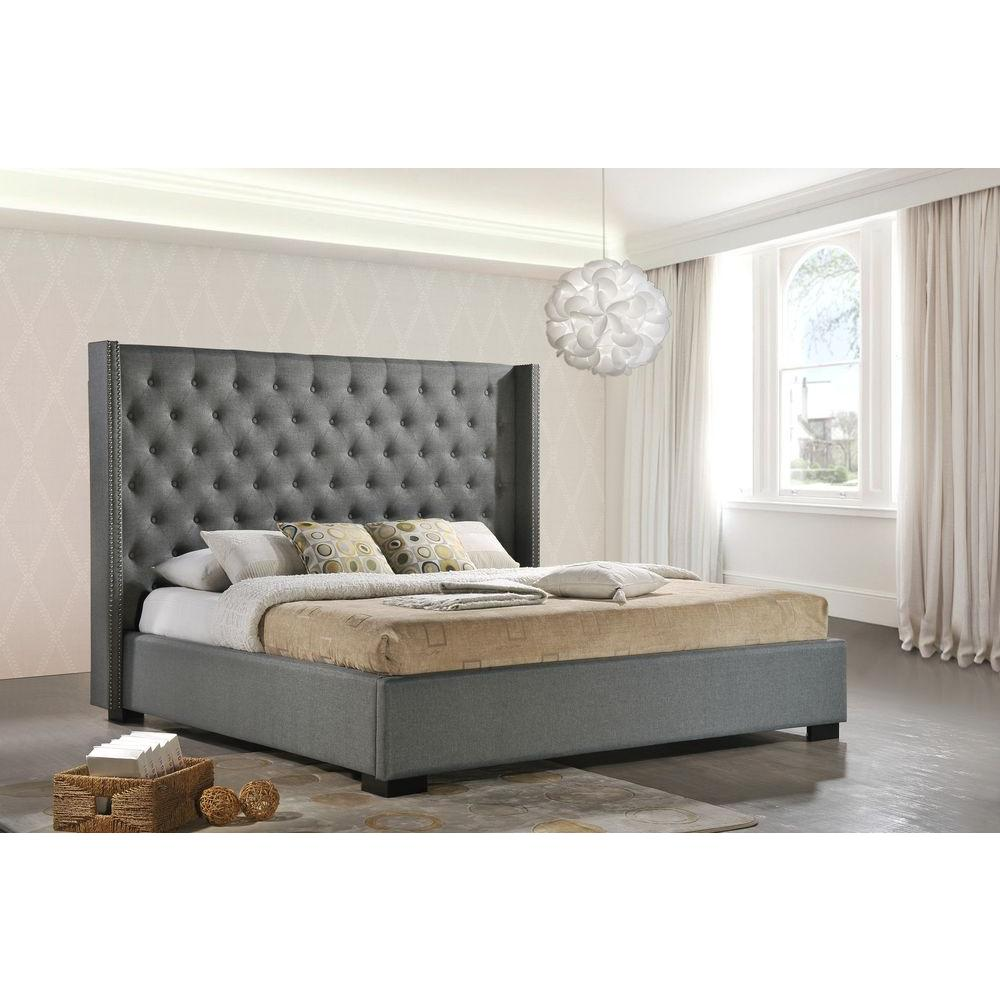 luxeo newport gray king upholstered bed lux k6368 gry kitchen cabinet hardware home depot drawer hardware home depot canada