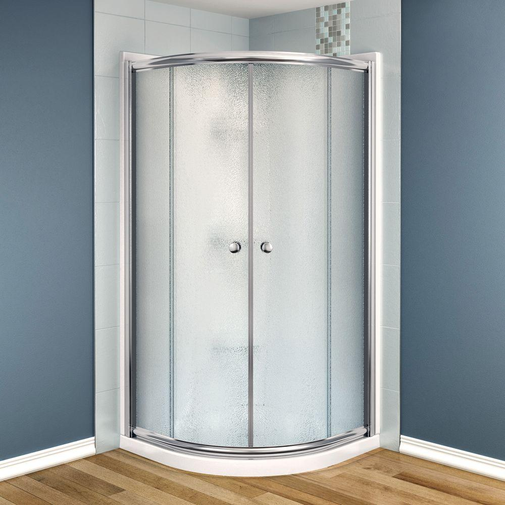 MAAX Talen 36 in. x 36 in. x 73 in. Neo-Round Shower Kit in Nickel with Frosted Glass, Base and Walls in White