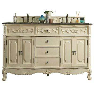 Naples 72 in. W Double Vanity in Antique White with British Tan Granite Vanity Top with White Basin