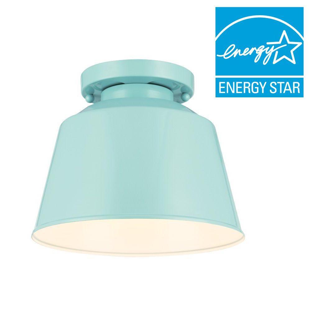 Freemont Collection 1-Light Hi Gloss Blue Outdoor Flushmount