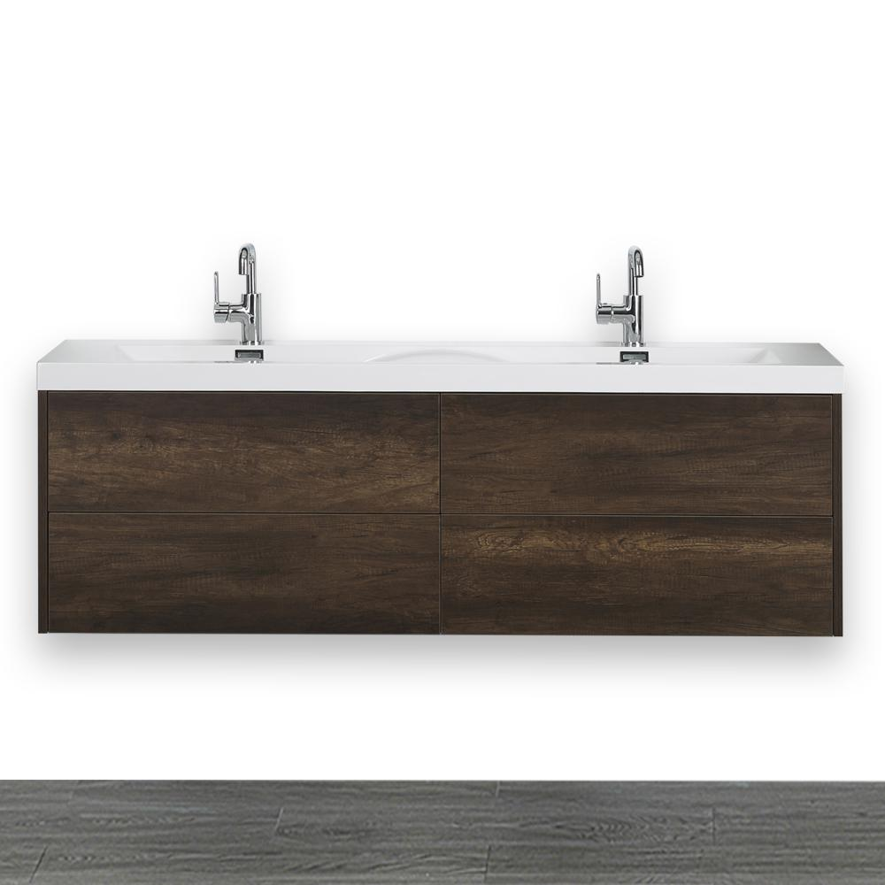 Streamline 63 in. W x 19.4 in. H Bath Vanity in Brown with Resin Vanity Top in White with White Basin