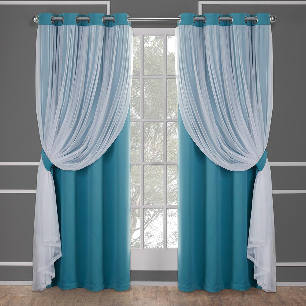 Catarina 52 in. W x 108 in. L Layered Sheer Blackout Grommet Top Curtain Panel in Turquoise (2 Panels)