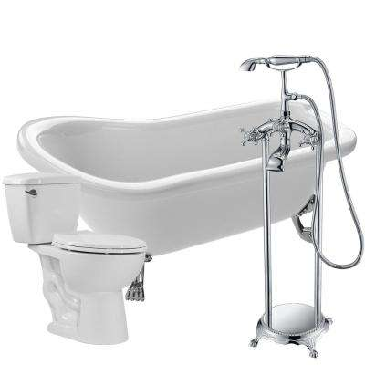 Pegasus 66.93 in. Acrylic Clawfoot Non-Whirlpool Bathtub in White with Tugela Faucet and Cavalier 1.28 GPF Toilet