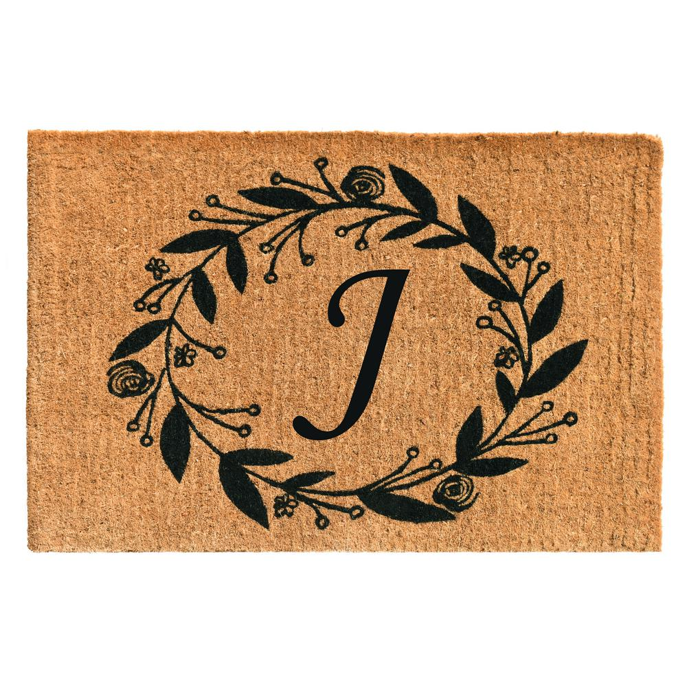 Black Rose 24 in. x 36 in. Monogram J Door Mat