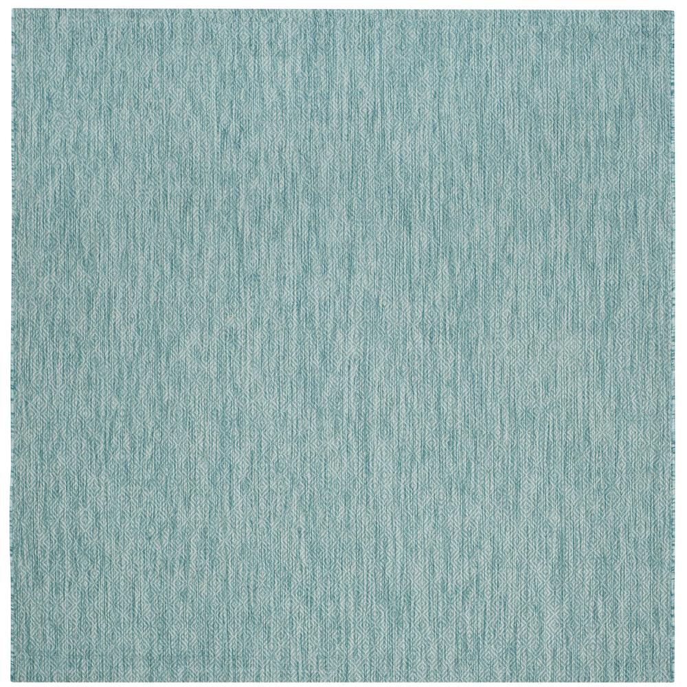 Courtyard Aqua 7 ft. Indoor/Outdoor Square Area Rug