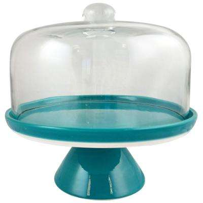 Nordic Cool 2-Tier Cake Stand Teal Ceramic Cake Stand with Glass Dome