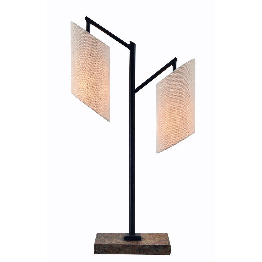 Bronze Table Lamp With Cream Drum Shade