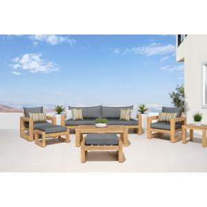 Benson 8-Piece Wood Patio Conversation Set with Sunbrella Charcoal Grey Cushions