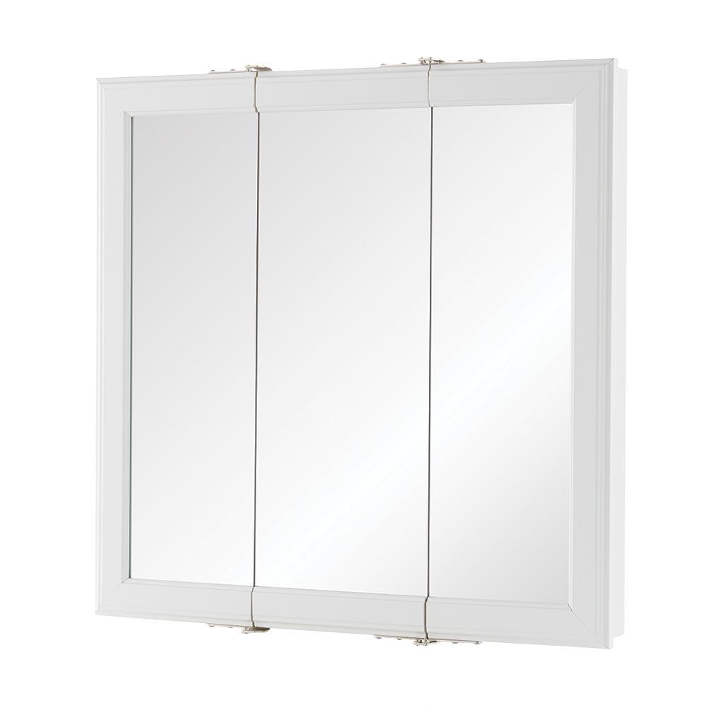 Glacier Bay 24 1 2 In W X 25 3 4 In H Framed Recessed Bi View Bathroom Medicine Cabinet In