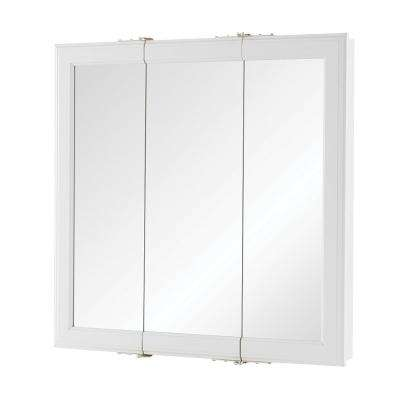 24 in. W x 24 in. H Fog Free Framed Surface-Mount Tri-View Bathroom Medicine Cabinet in White