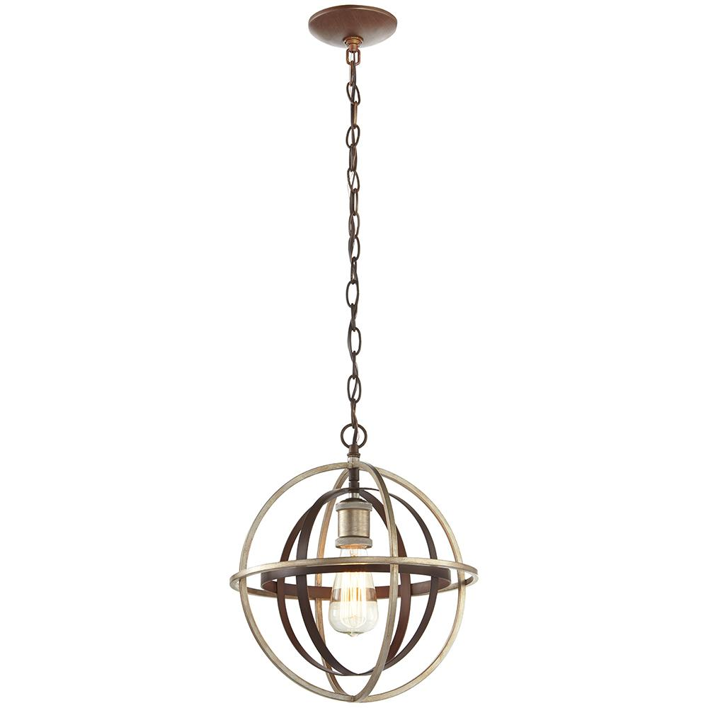 1-Light Bronze and Champagne Pewter Orb Mini Pendant
