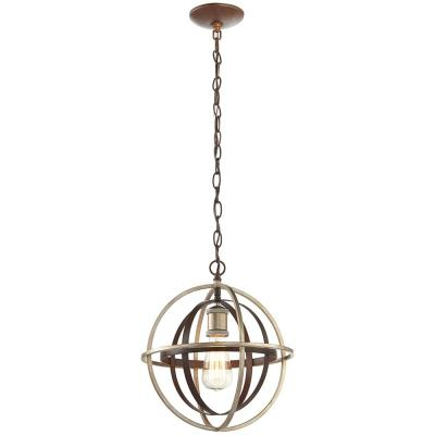 Barton Bay 1-Light Bronze and Champagne Pewter Orb Mini Pendant