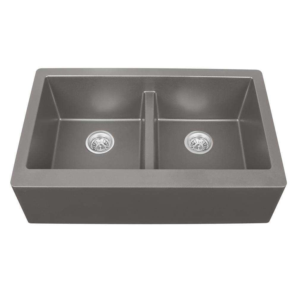 Karran apron front quartz composite 34 in double bowl kitchen sink karran apron front quartz composite 34 in double bowl kitchen sink in concrete workwithnaturefo