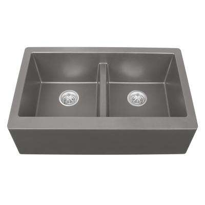 Apron Front Quartz Composite 34 in. Double Bowl Kitchen Sink in Concrete