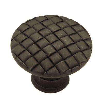 Basket Weave 1-1/8 in. (28mm) Distressed Oil Rubbed Bronze RoundCabinet Knob
