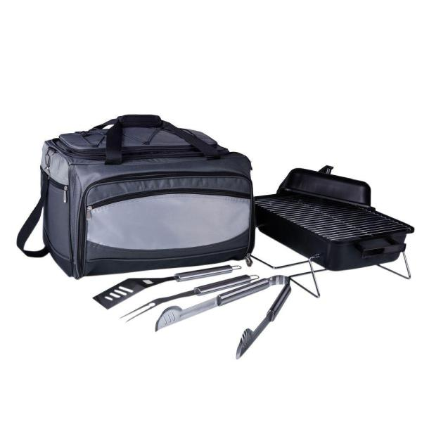 Buccaneer Portable Charcoal Grill and Cooler Tote in Black