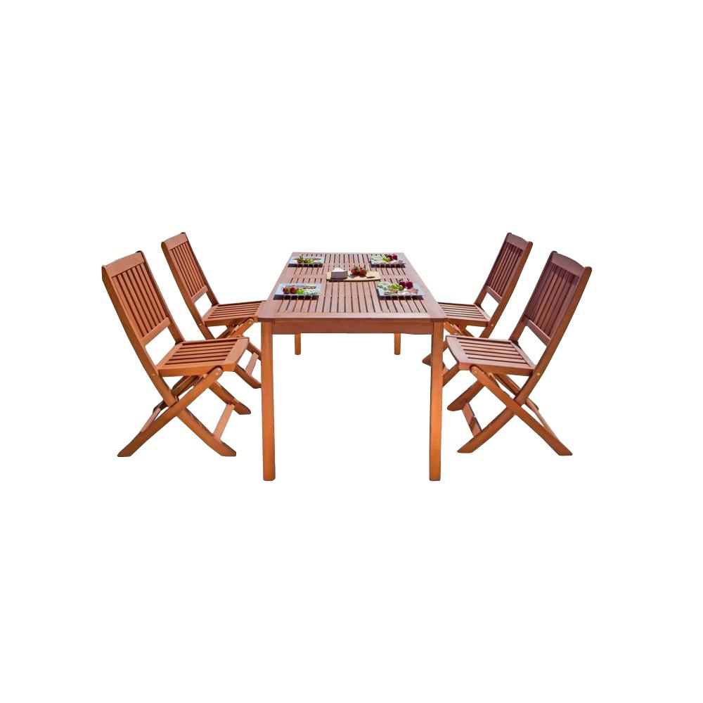 Balthazar Eucalyptus 5 Piece Wood Patio Dining Set With Folding Chairs