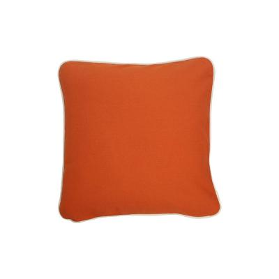 Orange Solid Cotton 16 in. x 16 in. Throw Pillow