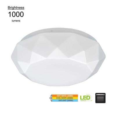 Diamond Style 12 in. White 60 Watt Equivalent Integrated LED Flushmount with Color Temperature Changing Feature