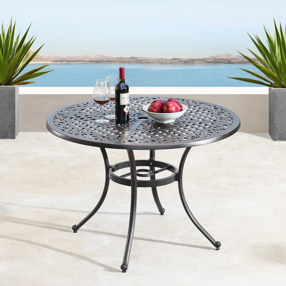 Traditional Ornate Mesh Lattice Antique Copper Round Aluminum 42 in. Outdoor Dining Table