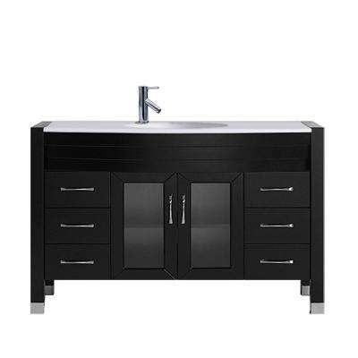 Ava 47 in. W Bath Vanity in Espresso with Stone Vanity Top in White Stone with Round Basin and Faucet