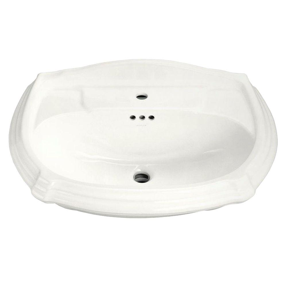 KOHLER Portrait 7-1/4 in. Vitreous China Pedestal Sink Basin in White with Overflow Drain