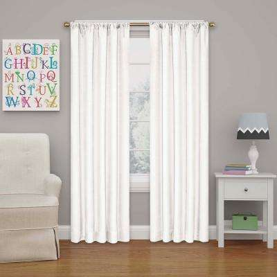 Kendall 63 in. L White Rod Pocket Curtain