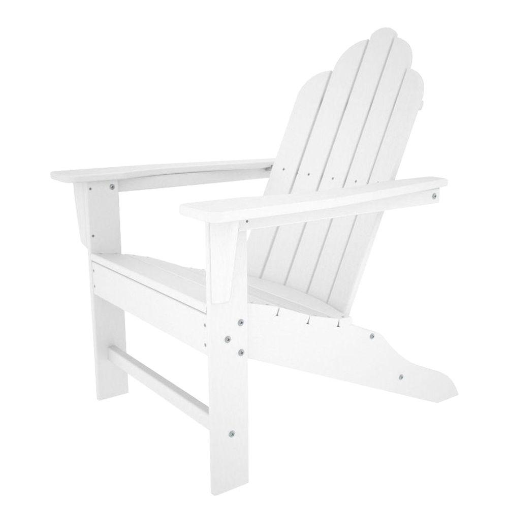 polywood long island white plastic patio adirondack chair eca15wh the home depot. Black Bedroom Furniture Sets. Home Design Ideas
