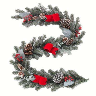 6 ft. Snowy Pine Garland with Pinecones, Berries and Red Velvet Bow