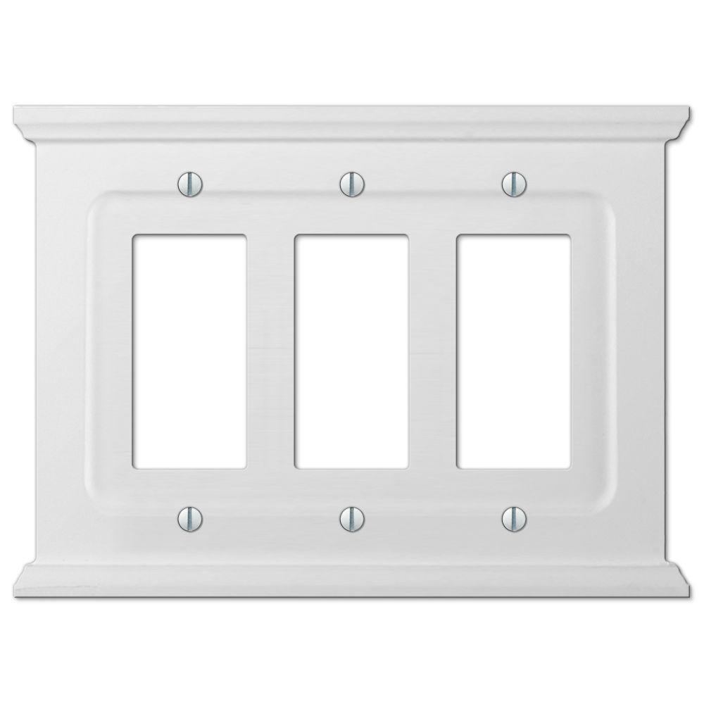 Mantel Wood 3 Decora Wall Plate - White