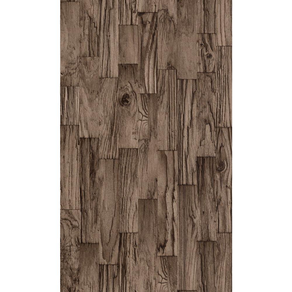 Distressed Brown Faux Wood Slats Vinyl Wallpaper