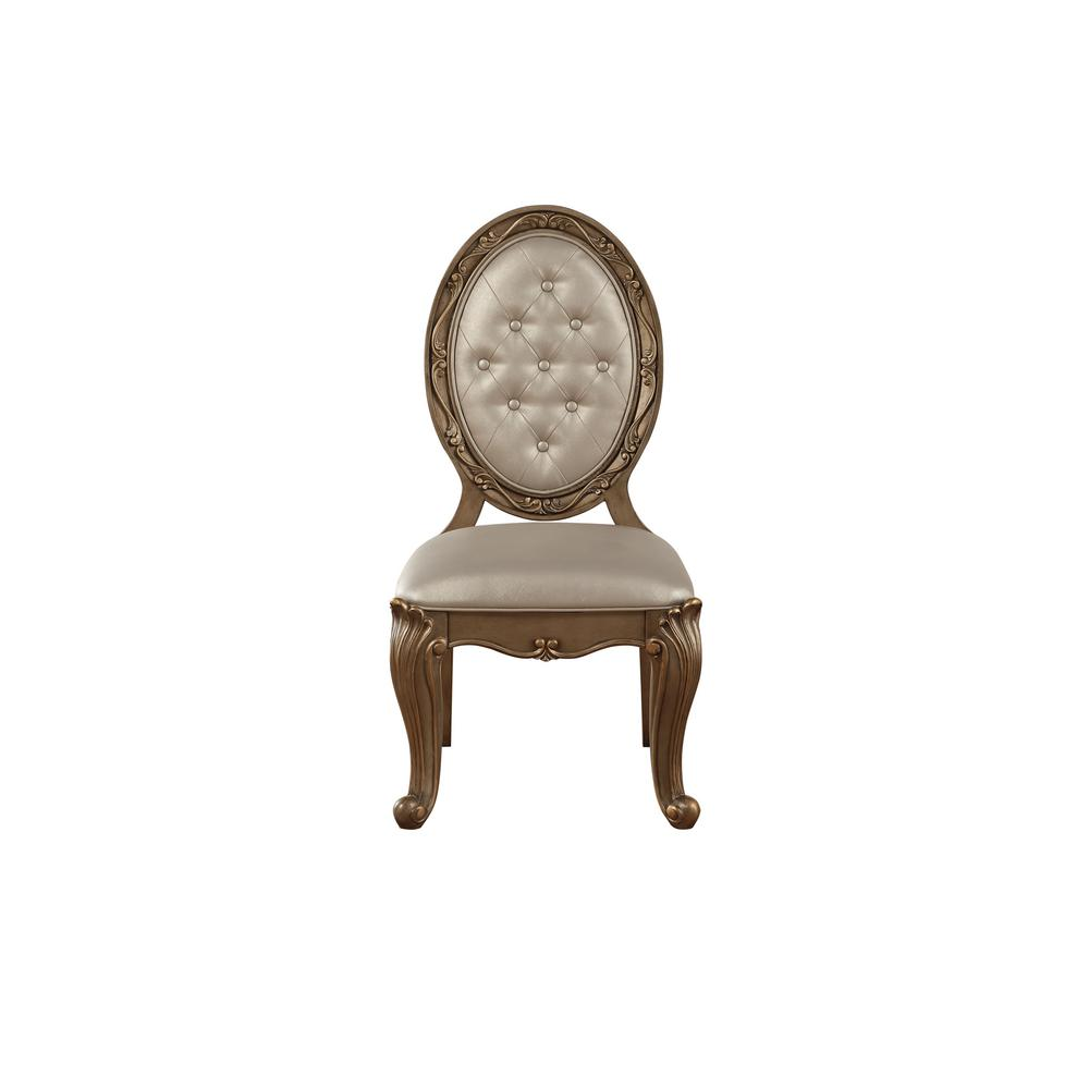 Acme Furniture Orianne Champagne Leatherette and Antique Gold Side Chair  (Set of 2)-63787 - The Home Depot - Acme Furniture Orianne Champagne Leatherette And Antique Gold Side